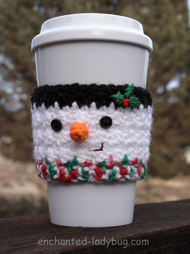 Free Crochet Snowman winter coffee cup cozy pattern. Fun winter coffee cup accessory. Free crochet pattern download. PDF printable