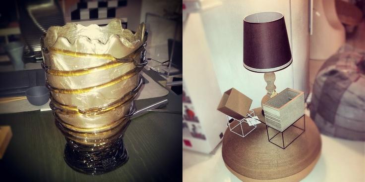 Le lampade in cartone di B-Trade e il vaso di Gaetano Pesce