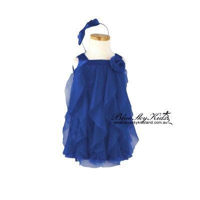 Girls Navy Chiffon Dress QSDS626 3/6M~12Y
