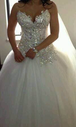 wedding dress with bling bodice