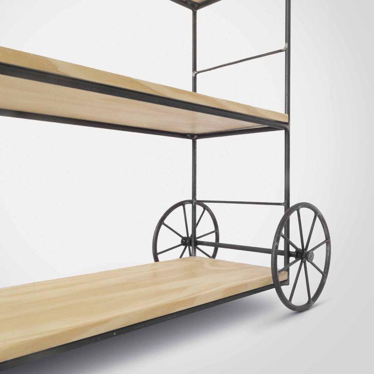 Estante com rodas - Estante com 6 prateleiras com proteção lateral e espaço interno de 32cm, ideal para colocação de livros e Vinis.