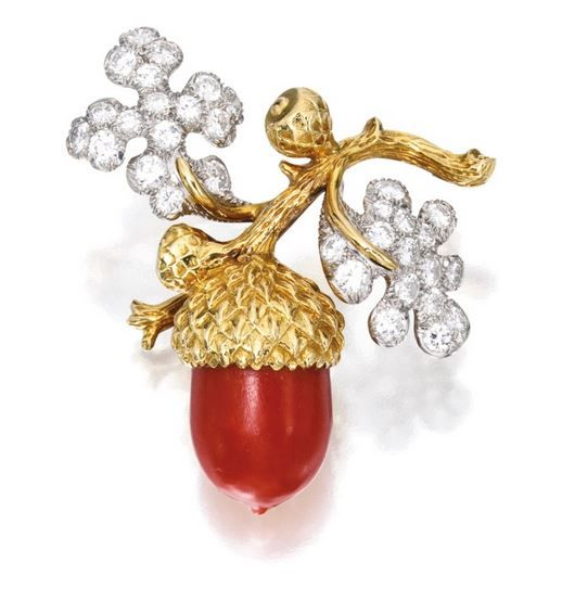 18 KARAT GOLD, PLATINUM, CORAL AND DIAMOND BROOCH, TIFFANY & CO.