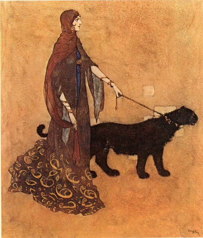 The Queen of the Ebony Isles    Arabian Nights  Edmund Dulac illustration