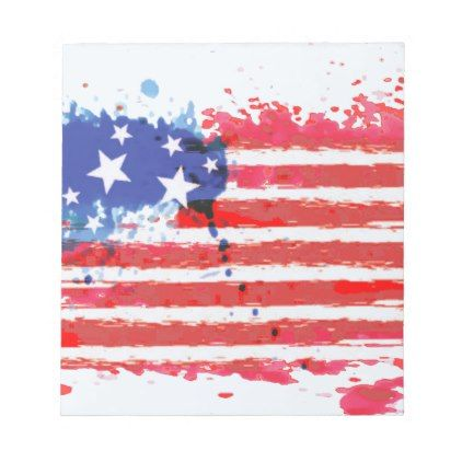 #watercolor grunge American Flag Notepad - #LaborDay Labor Day #labor #day #patriotic #summer #barbecue #bbq #party