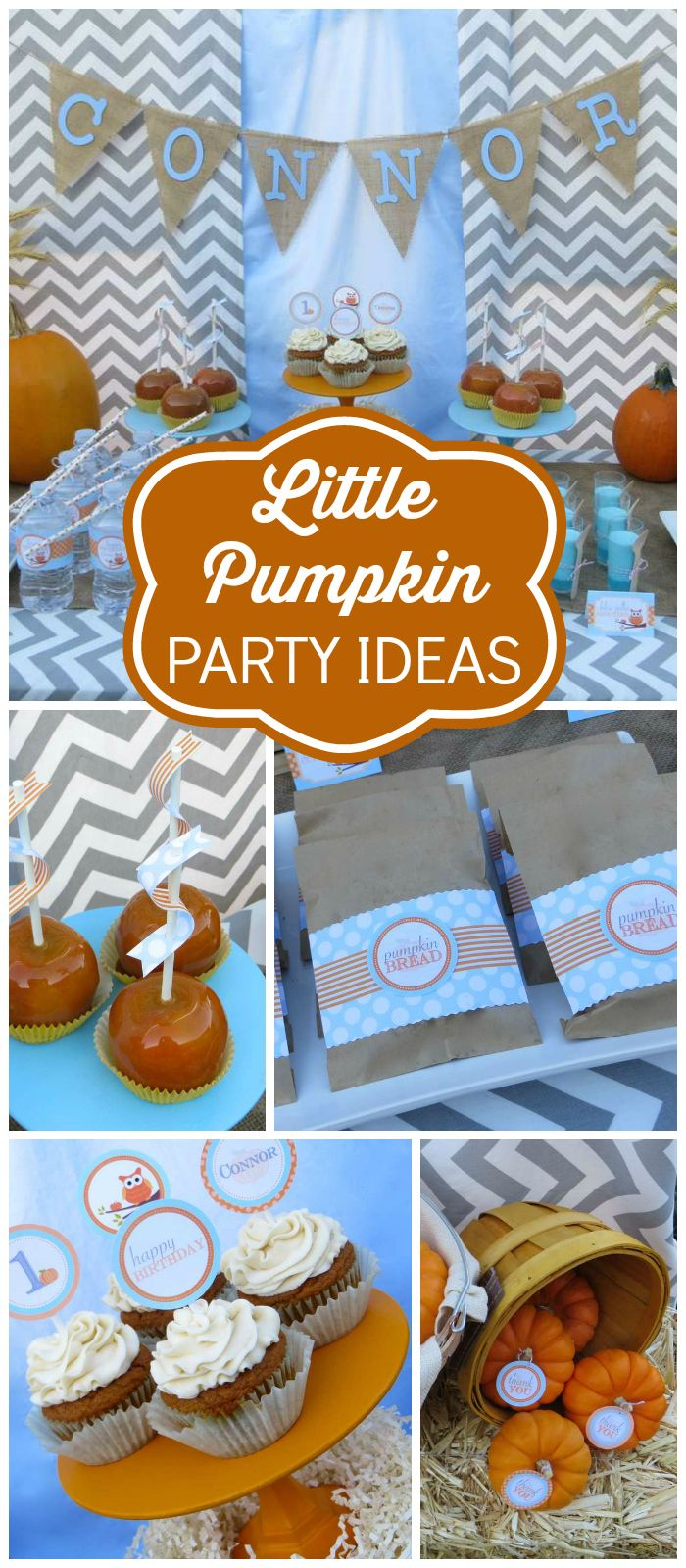 A little pumpkin fall inspired birthday party with caramel apples and mini mason jar favors! See more party planning ideas at CatchMyParty.com!
