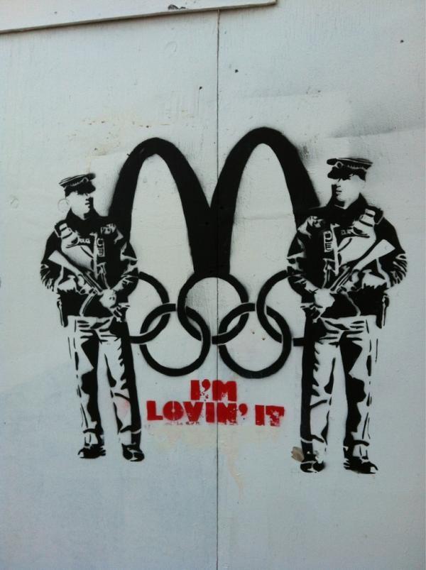 Alternative Olympics/McDonalds artwork in Brighton