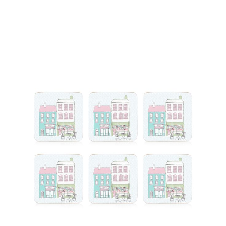 From At Home with Ashley Thomas, these coasters are colourful accessories for the tabletop. In pale blue, they are made with cork and feature a quaint street print.