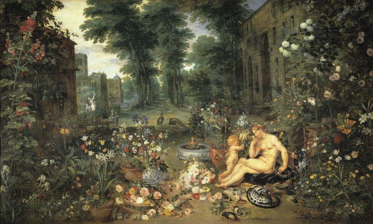 El Olfato, Pedro Pablo Rubens y Jan Brueghel el Viejo. Óleo sobre tabla, 65 x 111 cm, 1617 – 1618. Cuadro de gabinete perteneciente a la serie de Los Sentidos creada para los archiduques Alberto e Isabel Clara Eugenia.