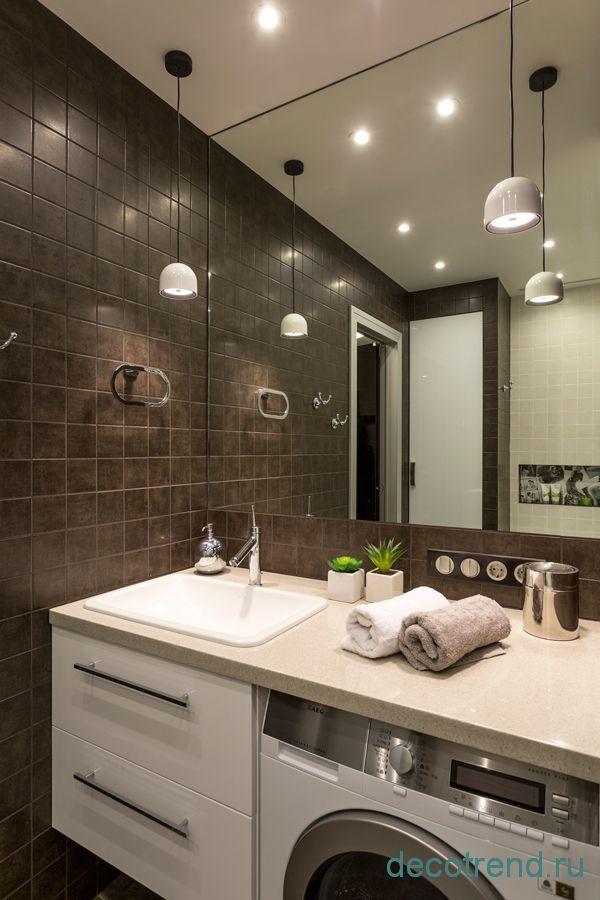 столешница со встроенной раковинной в ванной комнате