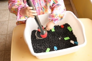 Mining for shapes #kids #activities #inside #homeschool #preschool #shapesSensory Table, Preschool Shape, Ideas, Black Beans, Flash Cards, Fine Motors, Kids Activities, Learning Shape, Mine