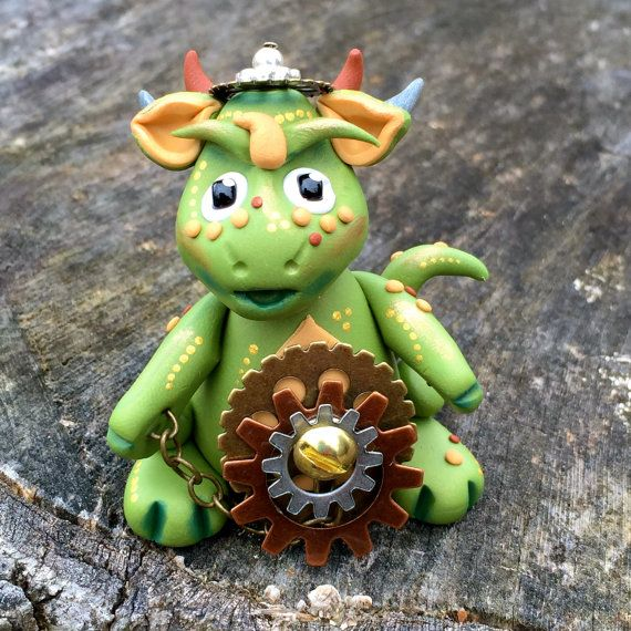 Polymer Clay Dragon 'Oliver' - Limited Edition Handmade Collectible by KatersAcres