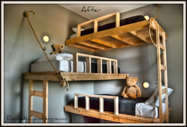 Triple bunk bed...This is awesome for the boys room..M.Taylor: My dad had my brothers beds custom made,they were triple bunkbeds made out of doors all stacked on top of each other, I like this arrangement better!