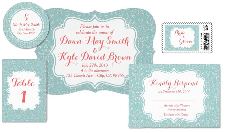 Custom Mint and Coral Damask Wedding Invitation Set. RSVP, Postage Stamps, Table Numbers, Party Favors, Address Labels