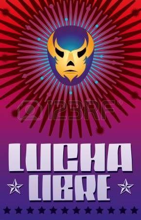 lucha olimpica: Lucha Libre - wrestling español texto - Máscara de luchador mexicano - cartel