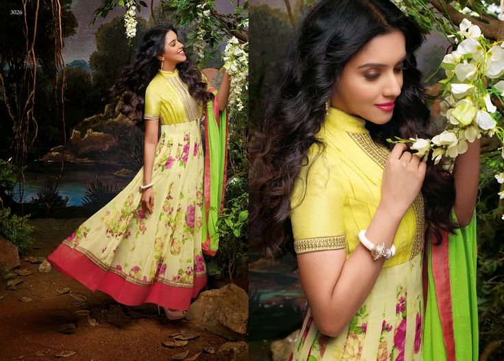 Elegant and Graceful Printed Georgette Party Wear Anarkali Suit in Yellow With Neon Pink & Green Combination. Comes along with Santoon bottom and matching chiffon dupatta.