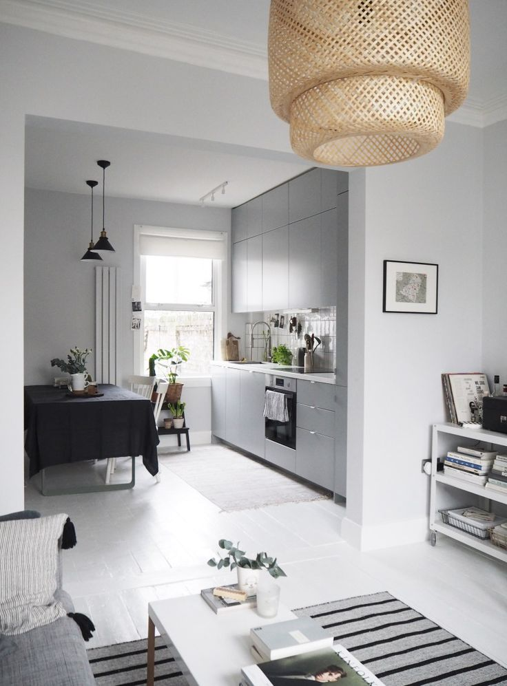 IKEA kitchen makeover before and after - a lovely, light bright Scandi-inspired space with a grey kitchen