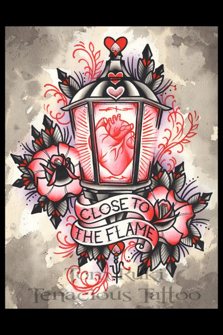 Anatomical Heart In A Gaslight Valentine Lantern Tom Ruki Tattoo Print By  TomRuki On Etsy,