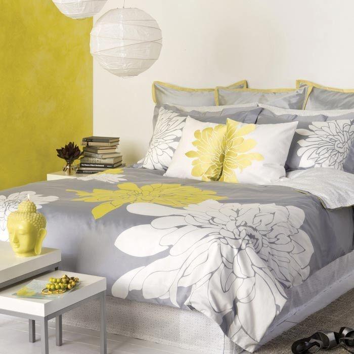 Blissliving Home Ashley Citron Duvet Set   Full/Queen :: Yellow, White, Gray
