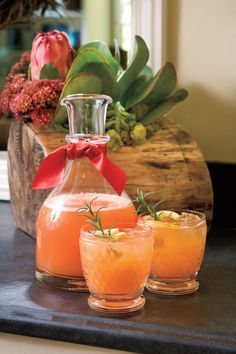 Rudolph's Tipsy Spritzer - Merry Morning Christmas Brunch Ideas - Southernliving. Recipe: Rudolph's Tipsy Spritzer When you need a festive holiday cocktail, look no further than this easy spritzer made with orange juice, lemon-lime soft drink, cherry juice, and vodka. If you want a non-alcoholic beverage, just leave out the vodka and add more orange juice or soft drink. Step-by-Step Video: The Drink that Keeps Rudolph's Nose So Red