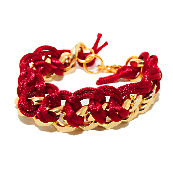 bracelet with red silk ribbon