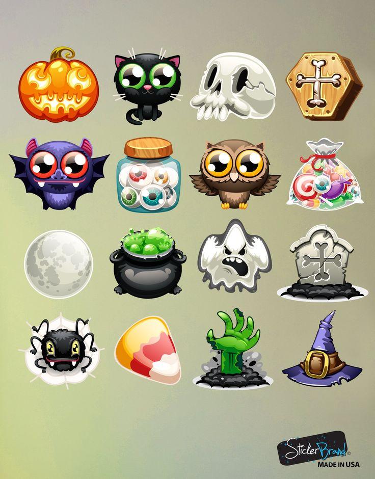 Halloween Emoji Text: Halloween Emojis Wall Decal Sticker Includes: Pumpkins