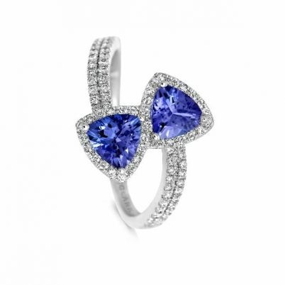 Angara Airline Set Tanzanite Solitaire Ring With Diamonds in White Gold toDhcSb