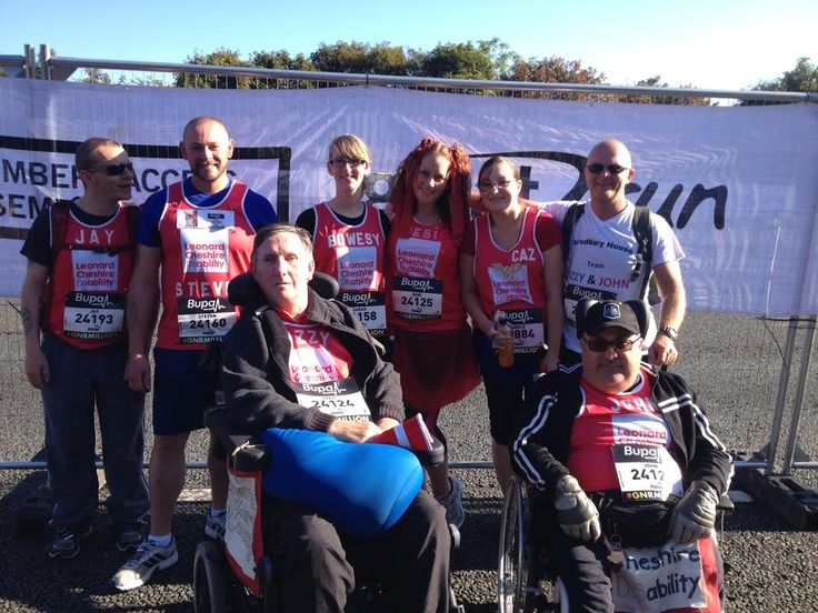 Ozzie Otterside, front left, has MS but was taking part in the Great North Run with team mates for Leonard Cheshire Disability