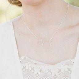 Bracelet de mariée en argent avec anneaux enlacés