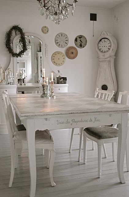 ..Dining Rooms,  Boards, Shabby Chic Furniture, Clocks Face, Living Room, Dining Table'S, Chic Home Decor, Grandfather Clocks, White Room