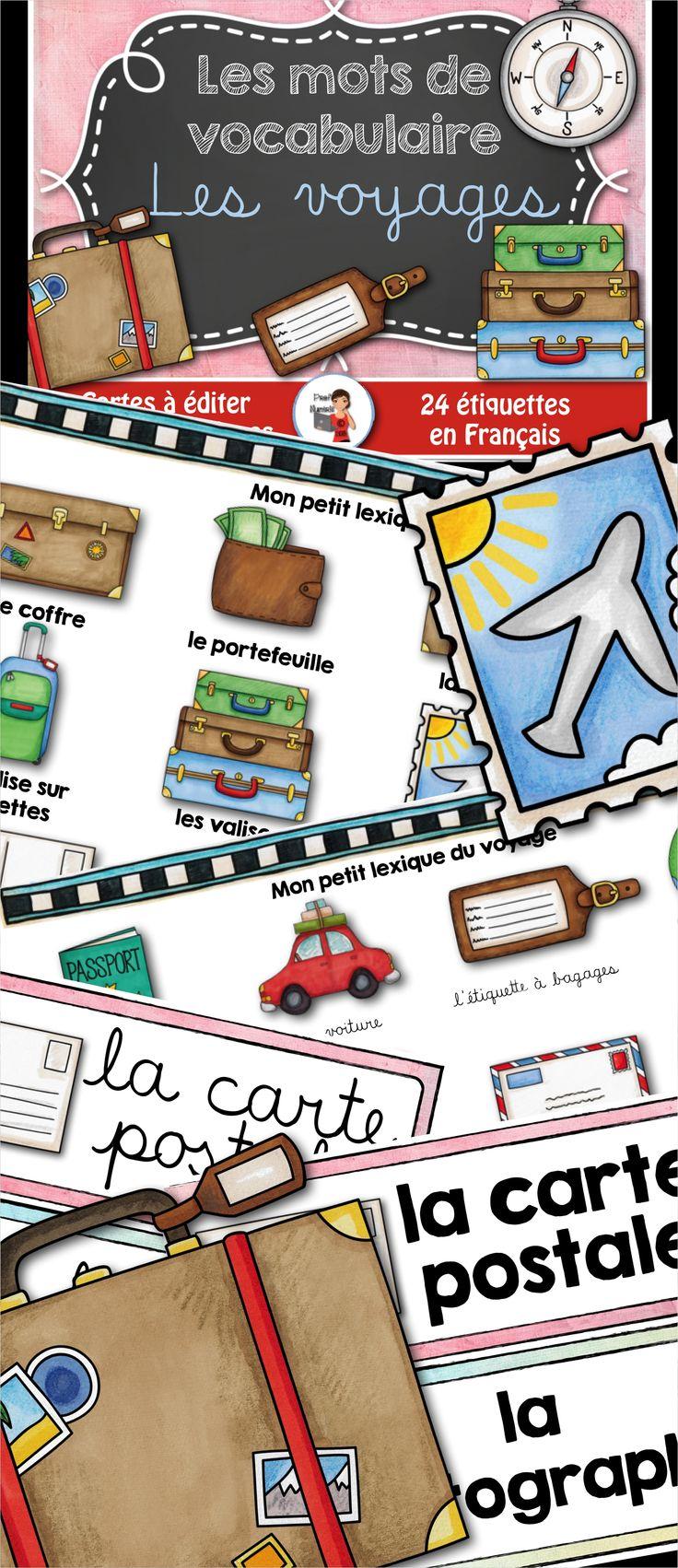 24 Mots-étiquettes sur le thème des voyages.