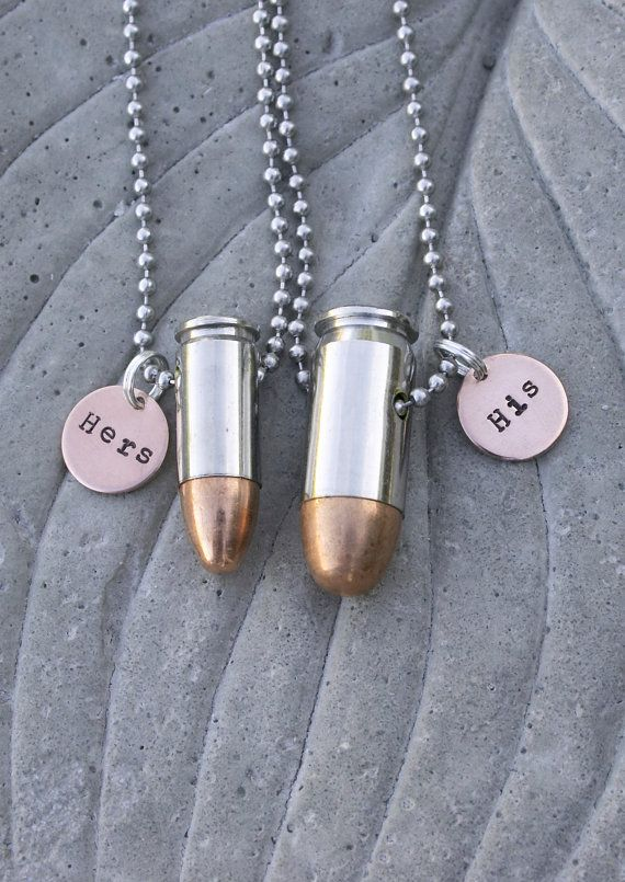 His and Hers Bullet Necklaces Hand Stamped 45 by BulletsAndWire, $54.00