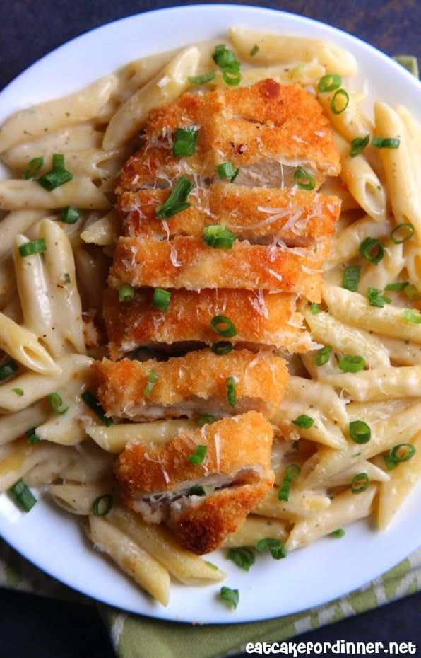 30-Minute Garlic Parmesan Penne Pasta with Crispy Panko Crusted Chicken Tenders Recipe