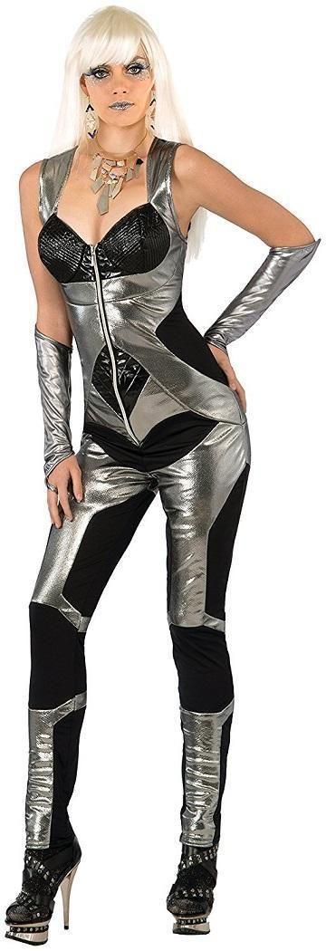 Molten Silver Jumpsuit Future Fashion Robot Fancy Dress Halloween Adult Costume | eBay