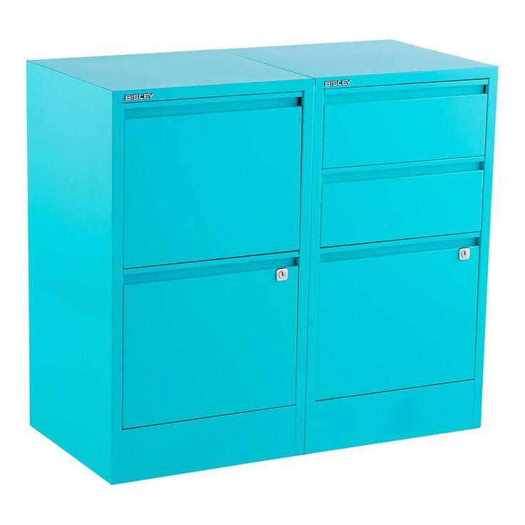Bisley Aqua 2- & 3-Drawer Locking Filing Cabinets