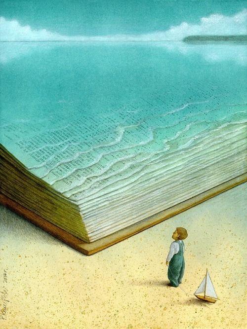 …In the sea of read / … En el mar de la lectura (ilustración de Pawel Kuczynski)