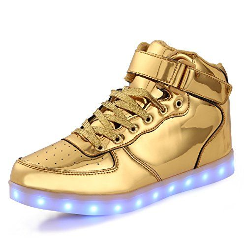 TULUO Kid & Men & Woman USB Charging LED 7 Colors Light High Top Sneakers Light shoes.Gold 38 EU - 5
