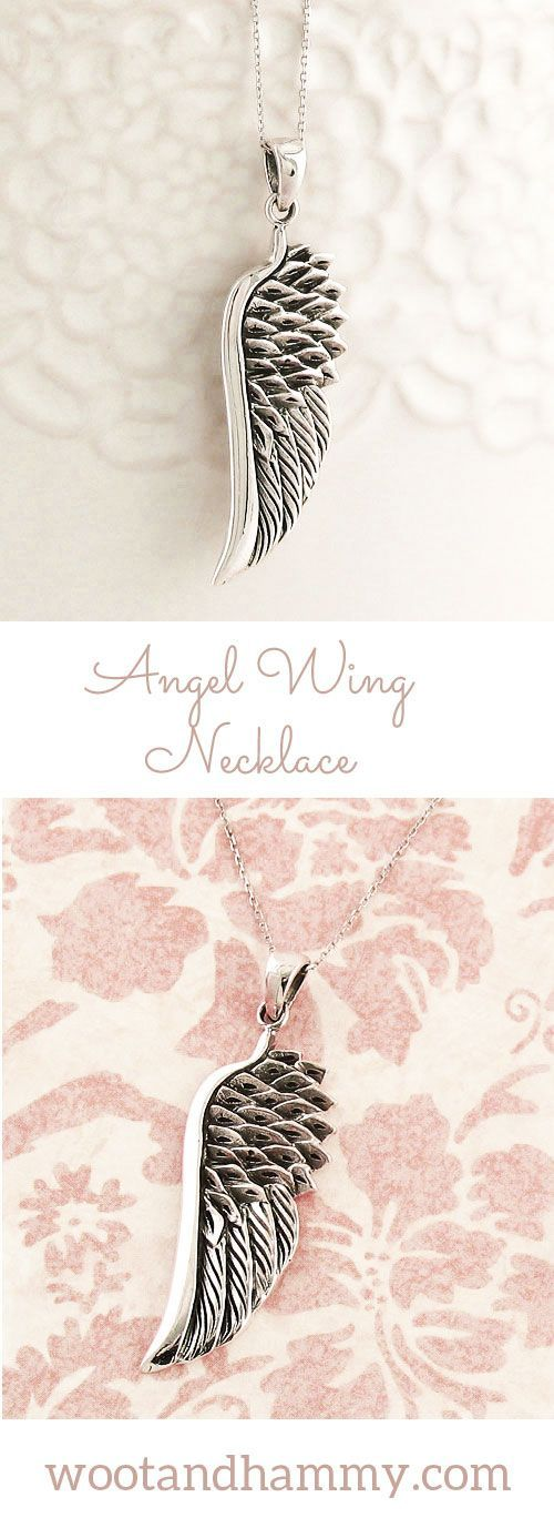 Wear this angel wing pendant to surround yourself with the good luck, guidance and protection of angels around you. It can also serve as a beautiful reminder of someone who has passed and now watches over you from above. Angel wing necklace in sterling silver.