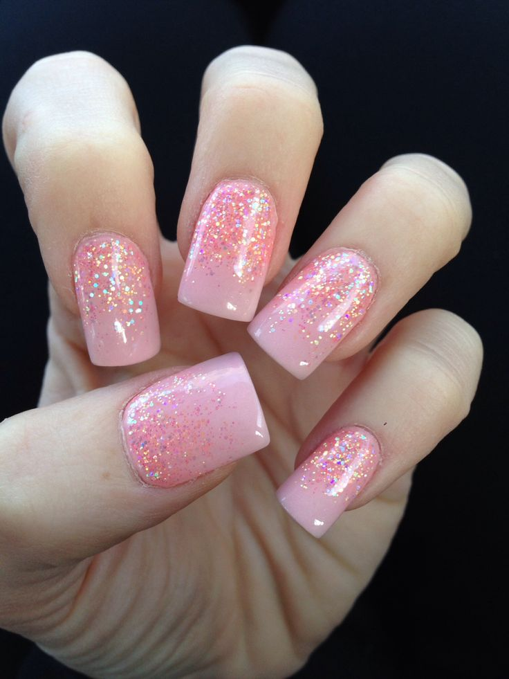 Pink solar nail with glitter fade design. Love my Nancy at 3D Nail in Cypress TX