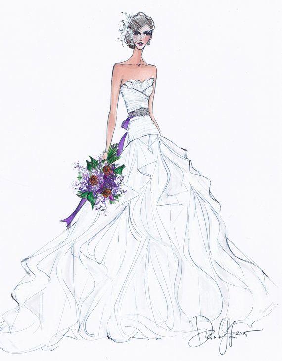 Custom Wedding Gown Illustration FRONTAL