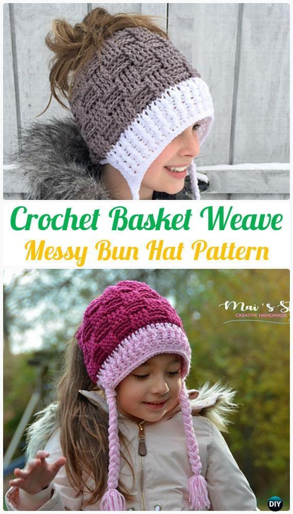 CrochetBasket Weave MessyBunHatPattern - Crochet Ponytail Messy Bun Hat Free Patterns & Instructions