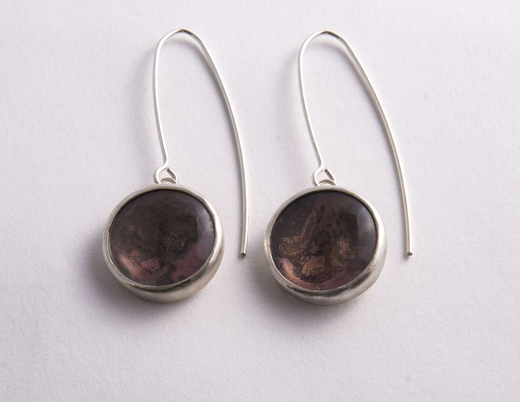 Oxidized Copper and Silver Earrings by Rosita Bailey-Rosse
