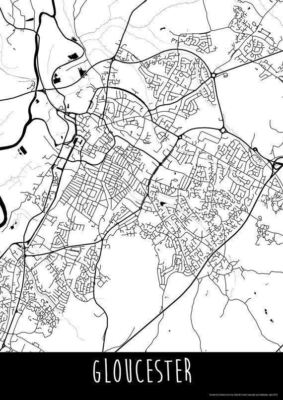 Gloucester City England Art Map Roads Print  Your by ILLAstudio
