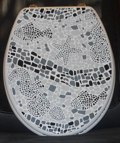 Toilettendeckel, Toilettensitz, WC Sitz, WC Deckel Klodeckel - Aquarell Fische