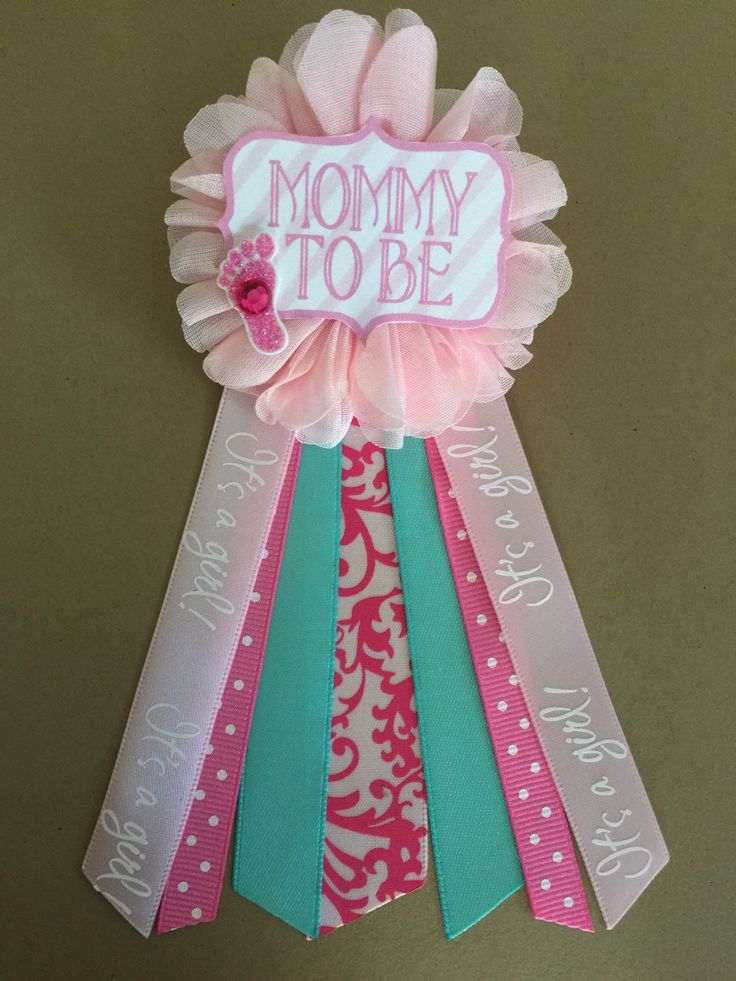 Pink and Aqua Teal Baby Shower Mommy-to-be Flower Ribbon Pin Corsage Glitter…