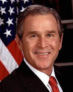 Official presidential photograph of George W. Bush, the 43rd President of the United States. Bush served as president 2001-2009.
