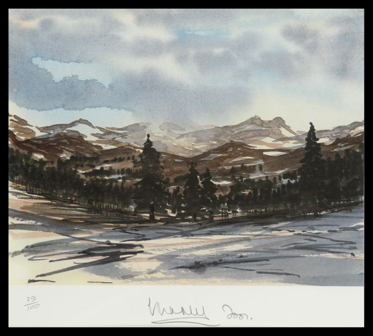 HRH The Prince of Wales Balmoral Winter Scene Limited Edition Signed Lithograph 50 x 46 cm £5,500