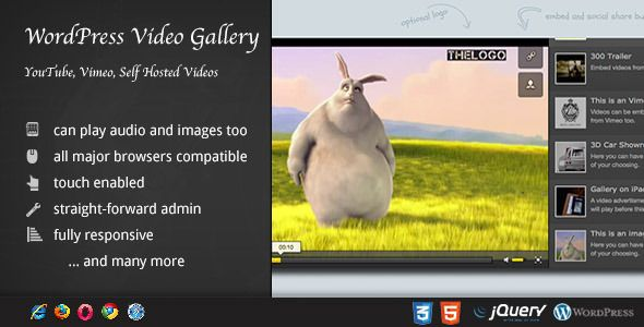 Video Gallery Wordpress Plugin /w YouTube, Vimeo