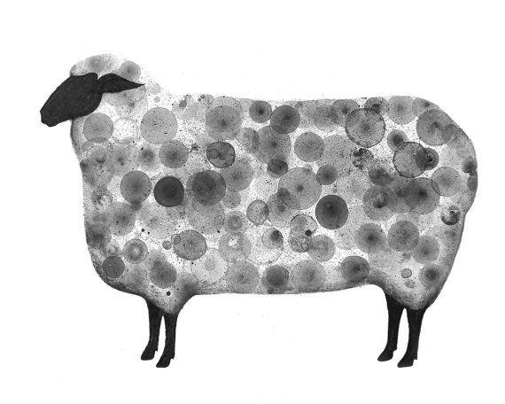 Sheep print of my original ink painting animal painting by VIZArt, $20.00