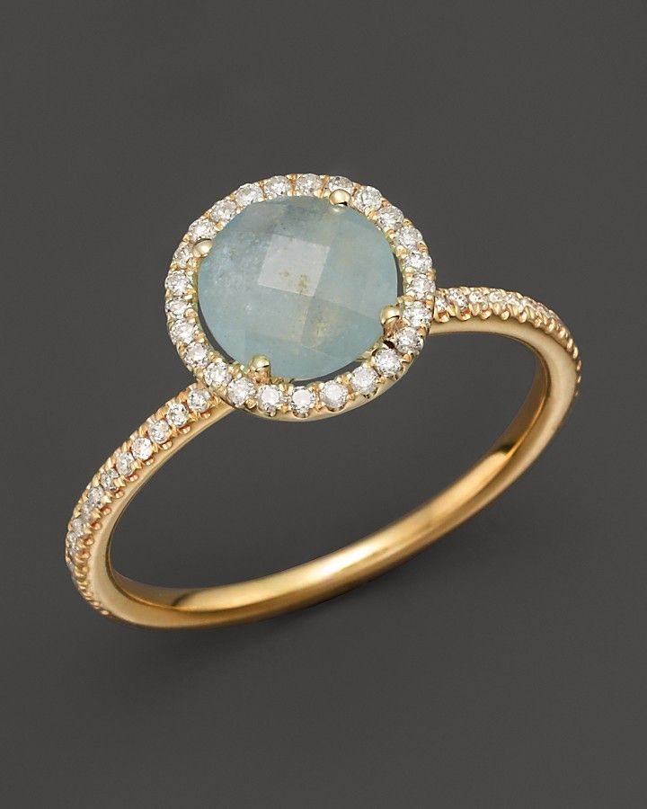 Meira T 14K Yellow Gold Milky Aquamarine and Diamond Ring on shopstyle.com