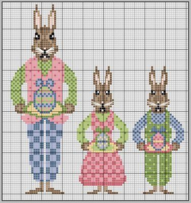 Free Biscornu Ornament a complete Easter Bunny family... no color chart available, just use the pattern chart as your color guide.. or choose your own colors...